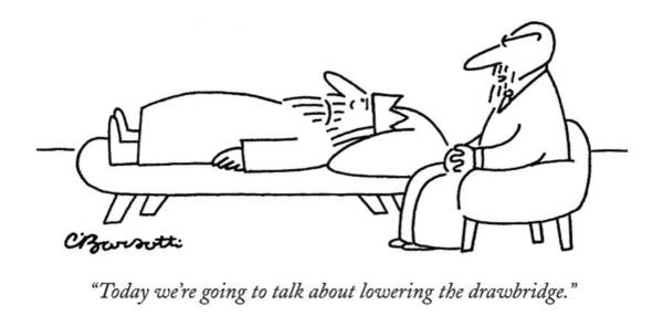 Insecurity Drawing - Today We're Going To Talk About Lowering by Charles Barsotti