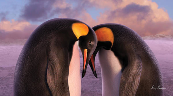 Penguin Painting - Together by Gary Hanna