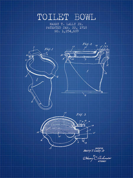 Toilet Paper Patent Wall Art - Digital Art - Toilet Bowl Patent From 1918 - Blueprint by Aged Pixel