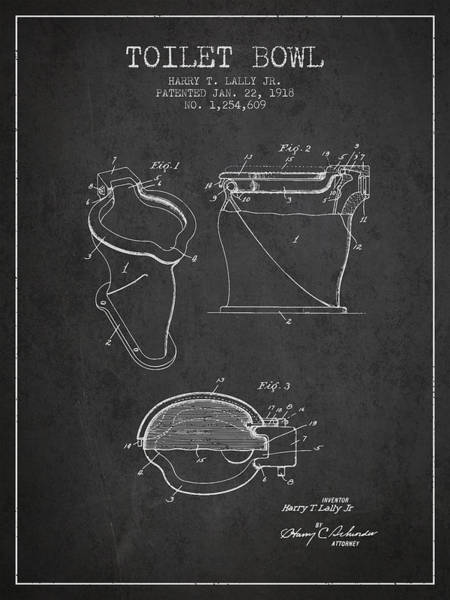 Toilet Paper Patent Wall Art - Digital Art - Toilet Bowl Patent From 1918 - Charcoal by Aged Pixel