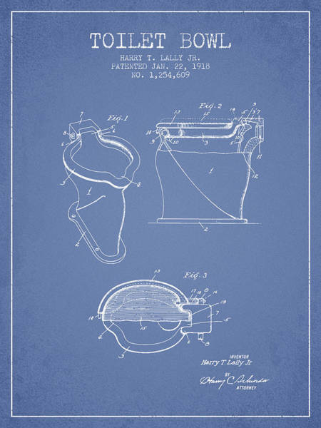 Intellectual Photograph - Toilet Bowl Patent From 1918 - Light Blue by Aged Pixel