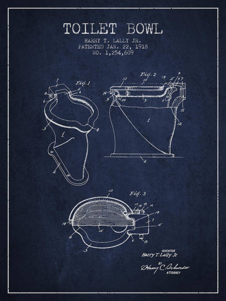 Toilet Paper Patent Wall Art - Digital Art - Toilet Bowl Patent From 1918 - Navy Blue by Aged Pixel