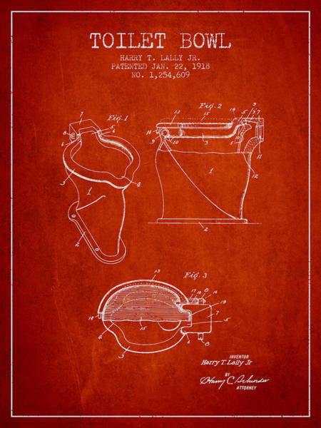 Toilet Paper Patent Wall Art - Digital Art - Toilet Bowl Patent From 1918 - Red by Aged Pixel