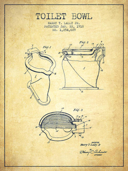 Toilet Paper Patent Wall Art - Digital Art - Toilet Bowl Patent From 1918 - Vintage by Aged Pixel