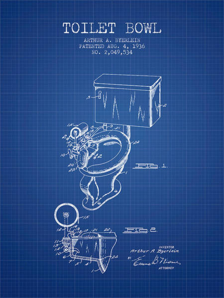 Intellectual Property Wall Art - Digital Art - Toilet Bowl Patent From 1936 - Blueprint by Aged Pixel