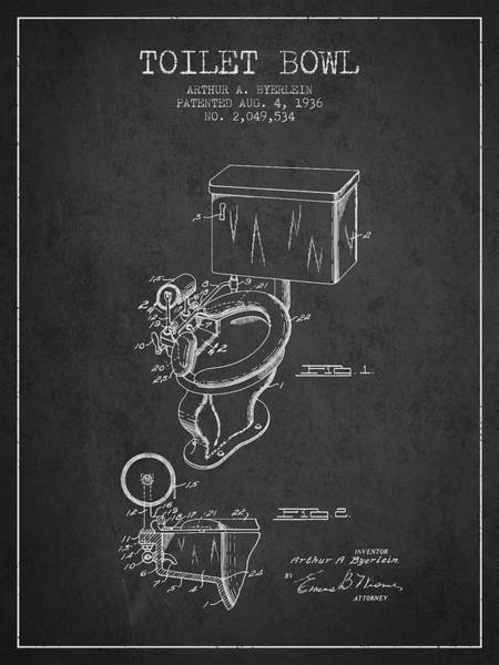 Toilet Paper Patent Wall Art - Digital Art - Toilet Bowl Patent From 1936 - Charcoal by Aged Pixel