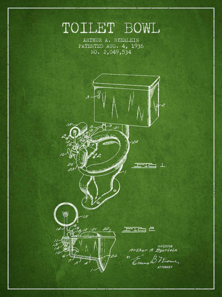 Toilet Paper Patent Wall Art - Digital Art - Toilet Bowl Patent From 1936 - Green by Aged Pixel