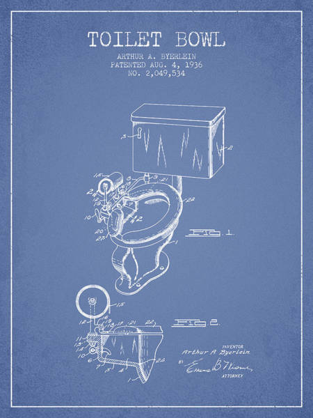 Toilet Paper Patent Wall Art - Digital Art - Toilet Bowl Patent From 1936 - Light Blue by Aged Pixel