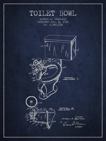 Toilet Paper Patent Wall Art - Digital Art - Toilet Bowl Patent From 1936 - Navy Blue by Aged Pixel