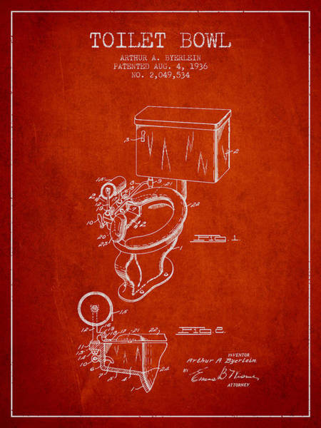 Toilet Paper Patent Wall Art - Digital Art - Toilet Bowl Patent From 1936 - Red by Aged Pixel