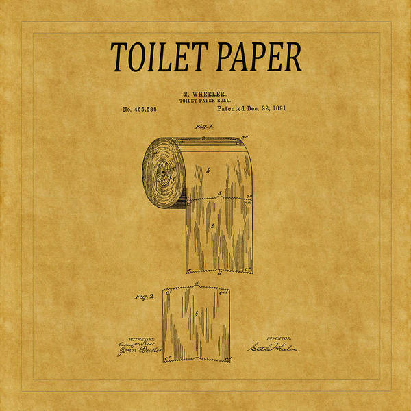 Toilet Paper Photograph - Toilet Paper Patent 1 by Andrew Fare