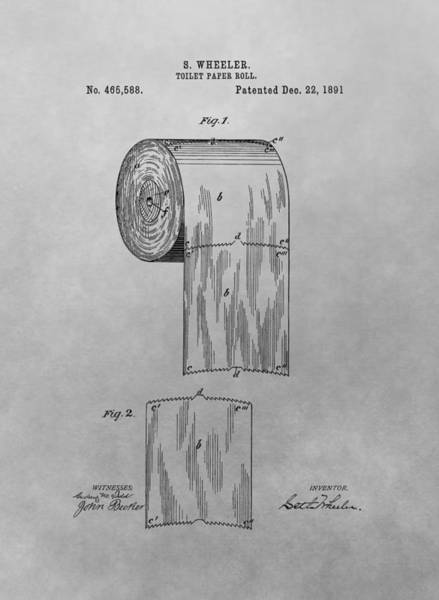 Drawing - Toilet Paper Patent Drawing by Dan Sproul
