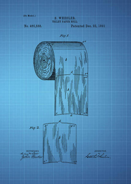 Toilet Paper Patent Photograph - Toilet Paper Roll Patent 1891 - Blue by Chris Smith