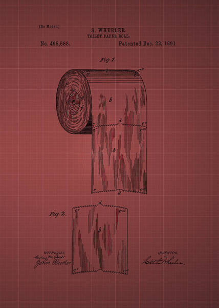 Toilet Paper Patent Photograph - Toilet Paper Roll Patent 1891- Burgundy by Chris Smith