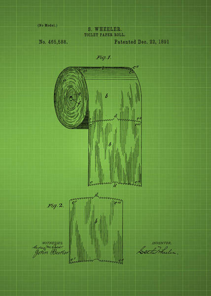 Toilet Paper Patent Photograph - Toilet Paper Roll Patent 1891 - Green by Chris Smith