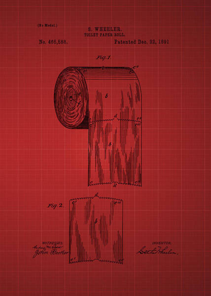 Toilet Paper Patent Photograph - Toilet Paper Roll Patent 1891 - Red by Chris Smith