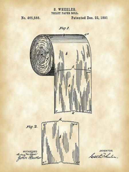 Nostalgia Digital Art - Toilet Paper Roll Patent 1891 - Vintage by Stephen Younts