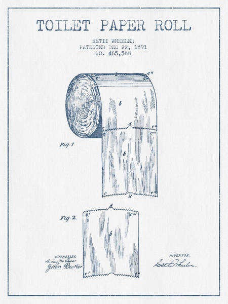 Toilet Paper Patent Wall Art - Digital Art - Toilet Paper Roll Patent Drawing From 1891  - Blue Ink by Aged Pixel