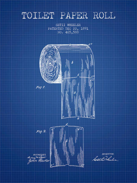 Toilet Paper Patent Wall Art - Digital Art - Toilet Paper Roll Patent Drawing From 1891 - Blueprint by Aged Pixel