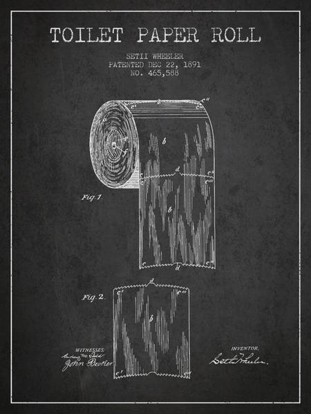 Intellectual Property Wall Art - Digital Art - Toilet Paper Roll Patent Drawing From 1891 - Dark by Aged Pixel