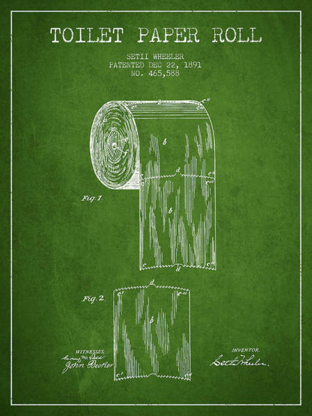 Toilet Paper Patent Wall Art - Digital Art - Toilet Paper Roll Patent Drawing From 1891 - Green by Aged Pixel