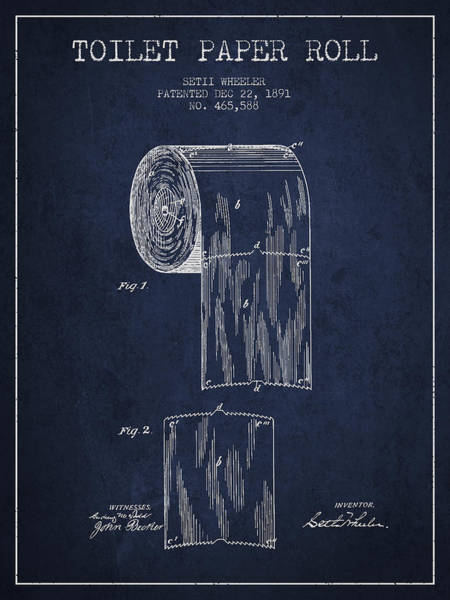 Toilet Paper Patent Wall Art - Digital Art - Toilet Paper Roll Patent Drawing From 1891 - Navy Blue by Aged Pixel