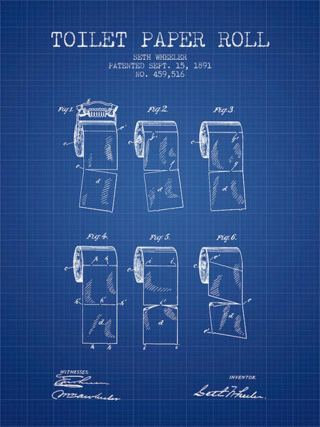 Toilet Paper Patent Wall Art - Digital Art - Toilet Paper Roll Patent From 1891 - Blueprint by Aged Pixel