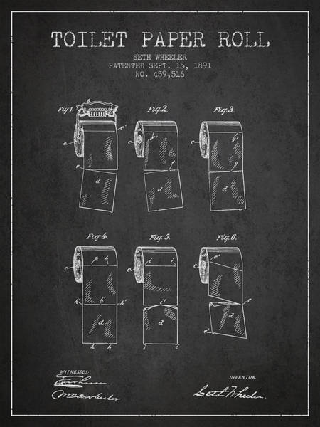 Toilet Paper Patent Wall Art - Digital Art - Toilet Paper Roll Patent From 1891 - Charcoal by Aged Pixel