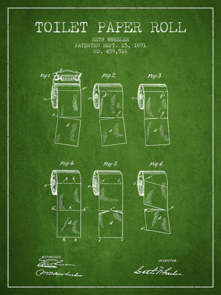 Toilet Paper Patent Wall Art - Digital Art - Toilet Paper Roll Patent From 1891 - Green by Aged Pixel