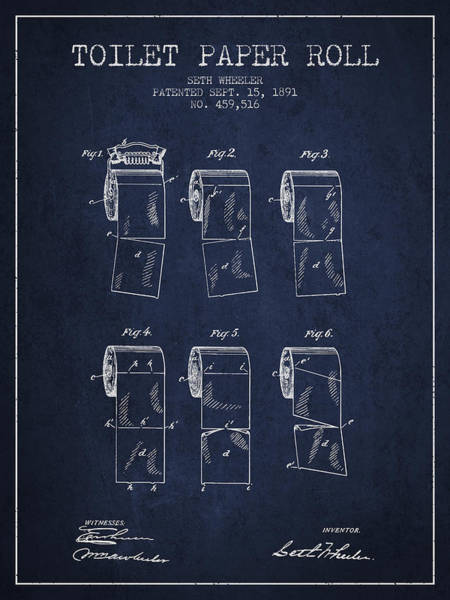 Toilet Paper Patent Wall Art - Digital Art - Toilet Paper Roll Patent From 1891 - Navy Blue by Aged Pixel
