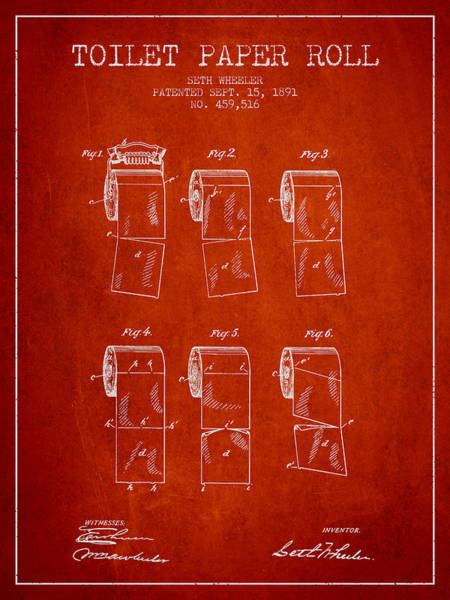 Toilet Paper Patent Wall Art - Digital Art - Toilet Paper Roll Patent From 1891 - Red by Aged Pixel