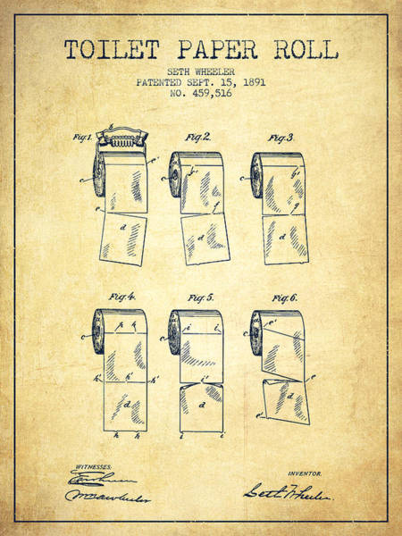 Toilet Paper Patent Wall Art - Digital Art - Toilet Paper Roll Patent From 1891 - Vintage by Aged Pixel