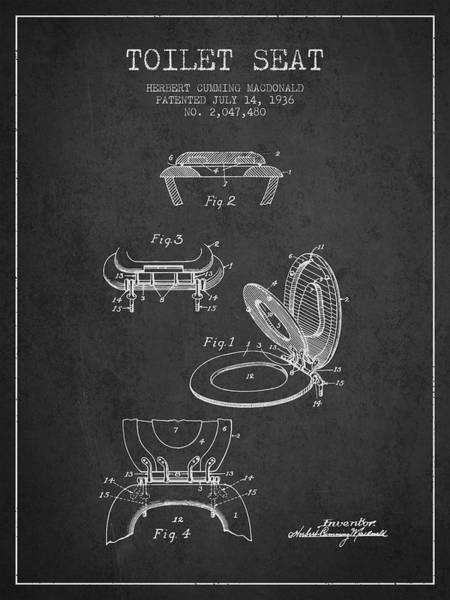 Toilet Paper Patent Wall Art - Digital Art - Toilet Seat Patent From 1936 - Charcoal by Aged Pixel