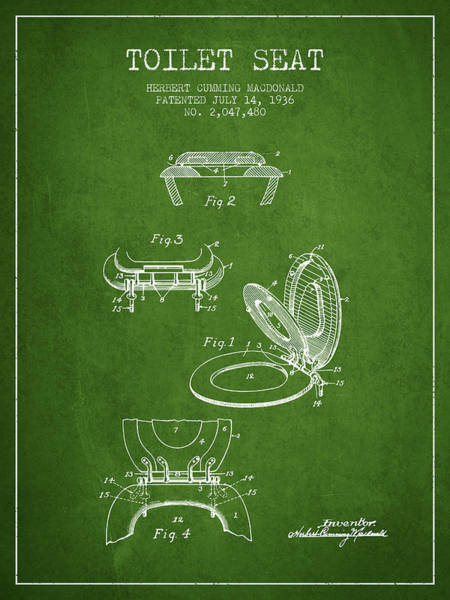 Toilet Paper Patent Wall Art - Digital Art - Toilet Seat Patent From 1936 - Green by Aged Pixel