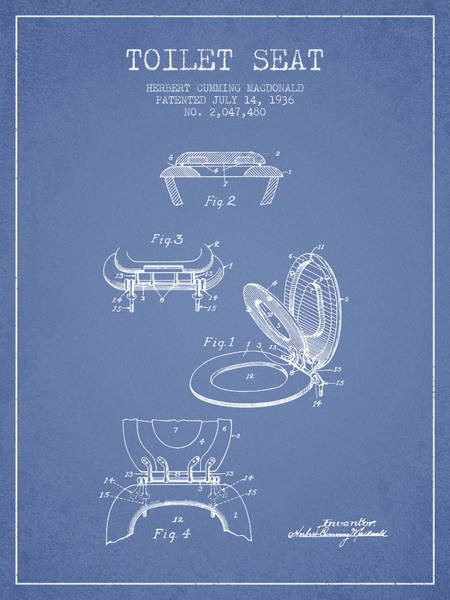 Toilet Paper Patent Wall Art - Digital Art - Toilet Seat Patent From 1936 - Light Blue by Aged Pixel