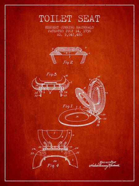 Toilet Paper Patent Wall Art - Digital Art - Toilet Seat Patent From 1936 - Red by Aged Pixel