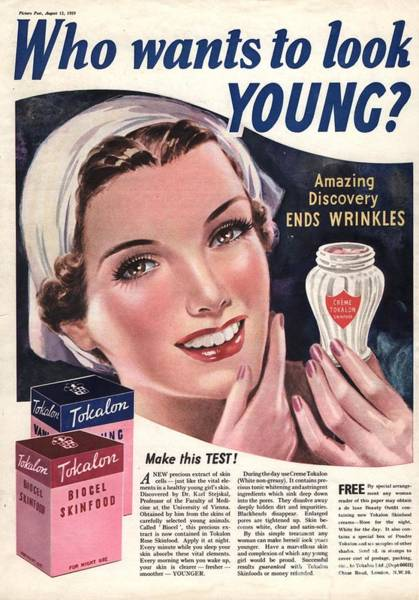 Nineteen-thirties Wall Art - Drawing - Tokalon 1939 1930s Uk Ageing Wrinkles by The Advertising Archives