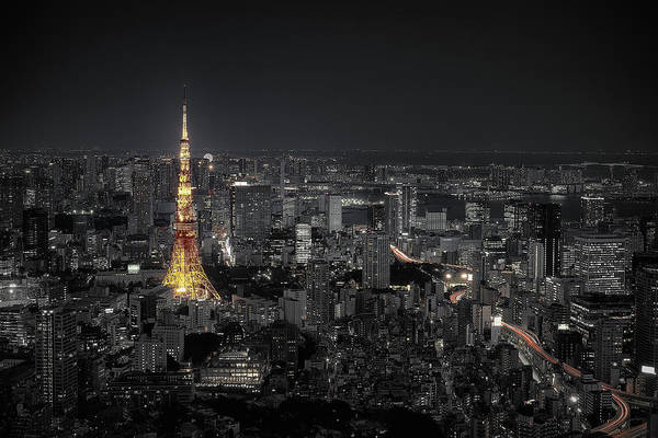 Selective Color Photograph - Tokyo At Night by Carlos Ramirez