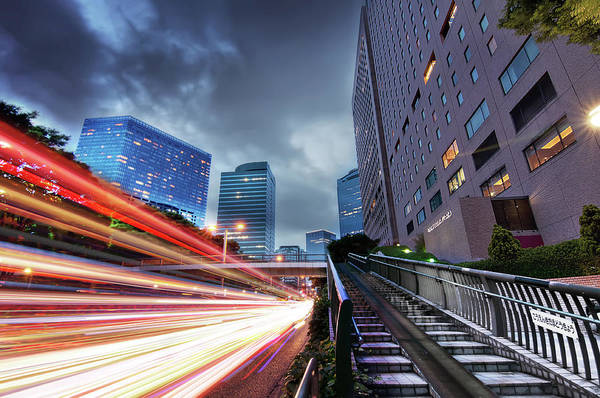 Rush Hour Photograph - Tokyo Rush Hour Lightstream by Image Provided By Duane Walker