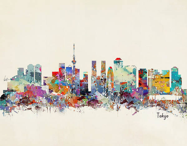 Watercolour Landscape Painting - Tokyo Skyine by Bri Buckley
