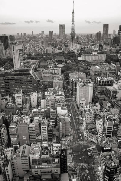 Photograph - Tokyo Tower Black And White by For Ninety One Days