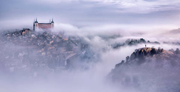 Cloudy Photograph - Toledo City Foggy Morning by Jes?s M. Garc?a