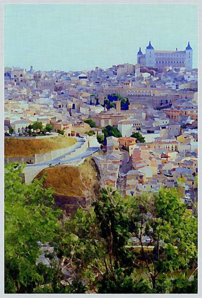 Toledo Painting - Toledo Spain In Blue by Mindy Newman