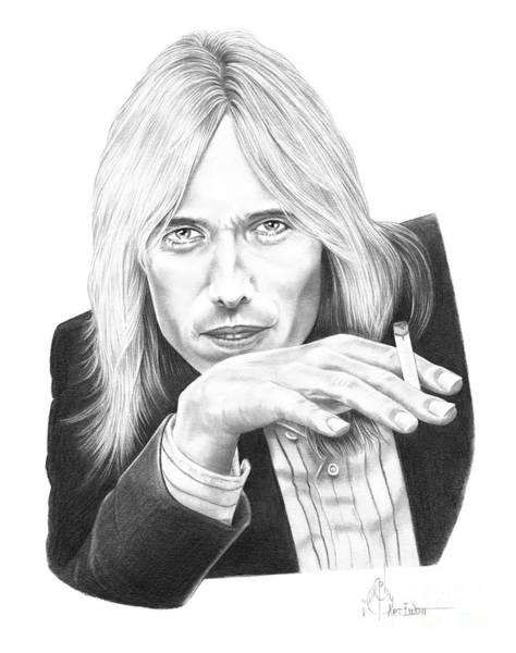 Famous People Drawing - Tom Petty by Murphy Elliott