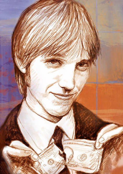 Frontman Wall Art - Drawing - Tom Petty - Stylised Drawing Art Poster by Kim Wang