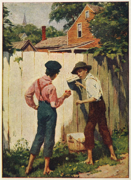 Wall Art - Drawing - Tom Sawyer Whitewashing The  Fence by Mary Evans Picture Library
