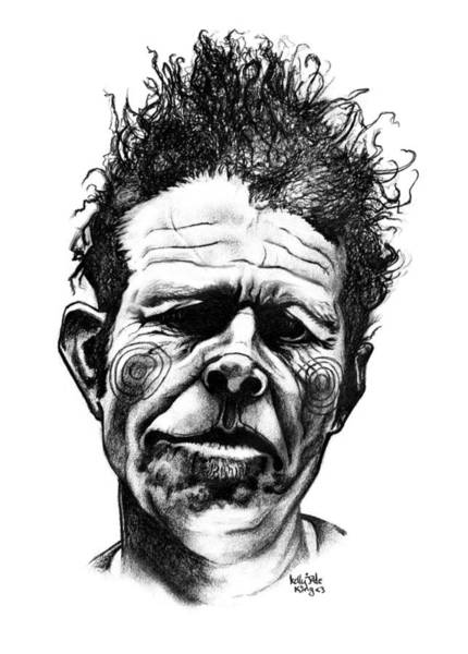 Face Drawing - Tom Waits by Kelly Jade King