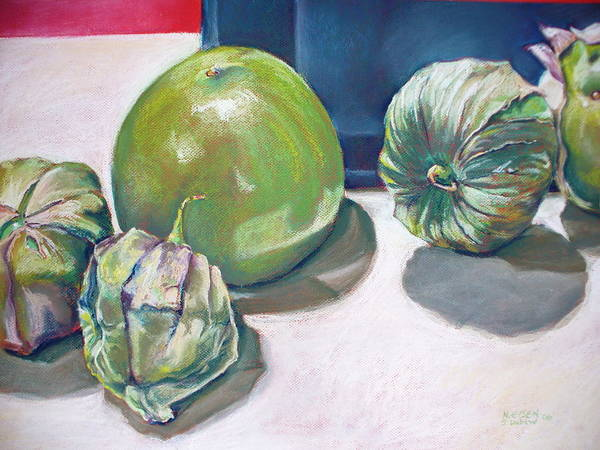 Pastel - Tomatillo Ole by Outre Art  Natalie Eisen