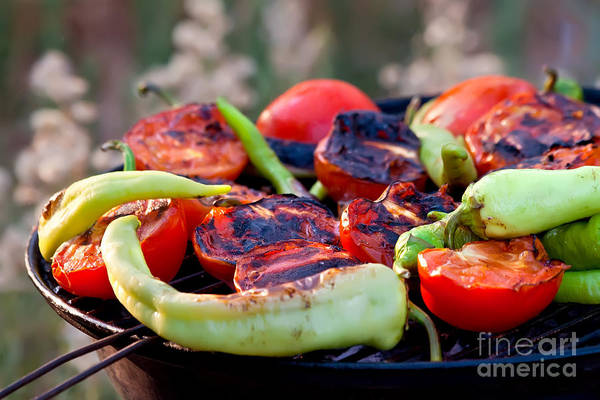 Barbeque Photograph - Tomato And Peppers Fish Grilling On Bbq     by Leyla Ismet