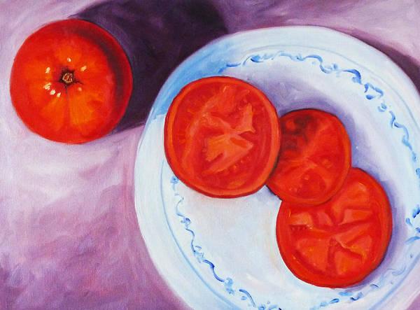 Closeup Painting - Tomato by Nancy Merkle